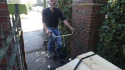 German inventor pedals past taboos with bicycle hearse in Oldenburg