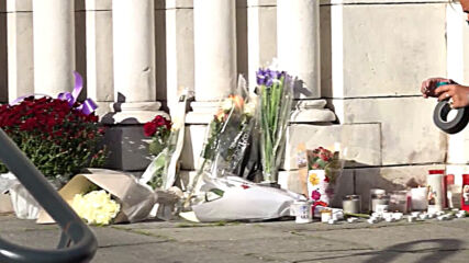 France: Memorial set up for knife attack victims outside Notre-Dame church in Nice