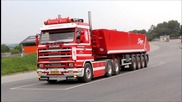 Henning Sejer Pedersen Aps - Scania 143h 420 (straight pipe) with tiptrailer passed by