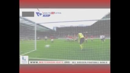 Гениален пряк свободен удар на Стивън Джерард за 2 - 2 ! Манчестър Юнайтед 3 - 2 Ливърпул !