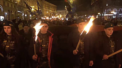 Ukraine: Nationalists hold torchlit procession in Kiev marking 125th anniversary of 'Sokil' organisation