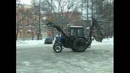 Crazy russian tractor driver