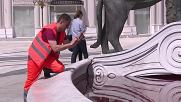 Macedonia: Fountain's water dyed 'blood' red in anti-government protest