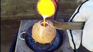 Какво се случва когато сложим разтопена мед в кокосов орех