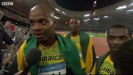 Щафетата на Ямайка веднага след рекорда - Пекин 22.08.08
