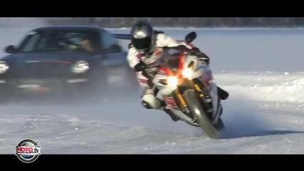 Луд с мотор на сняг при -20 градуса!