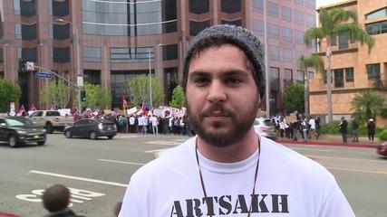 USA: Armenians protest in LA against Azerbaijani attacks on Artsakh