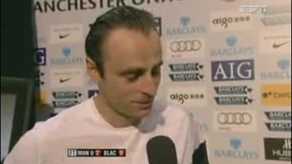 интервю на Димитър Бербатов след страхотния гол, който вкара на Блекбърн 31.10.09 + субтитри