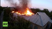 Дрон снима горящия Донецк след нощните бомбардировки