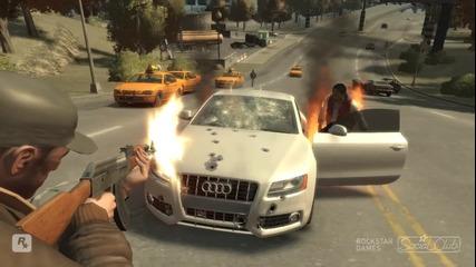 Audi S5 с бронирано стъкло + експлозия на забавен кадър