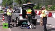 Germany: Mounted police patrol Austria-Germany border ahead of G7