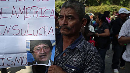 Guatemala: Pro-Morales protesters condemn 'coup' in front of US embassy