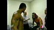 Rock and Jericho fight at the lockeroom