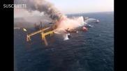 Взрив и силен пожар на петролна платформа в Мексико взеха жертви