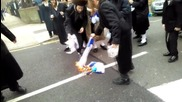 UK: London Orthodox Jews burn Israeli flag on Purim
