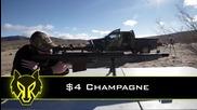 Отваряне на бутилка шампанско с оръжие 50 калибър
