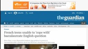 French Teens Unable to 'cope With' Baccalaureate English Question