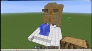 Модерна къща с фонтанче в Minecraft