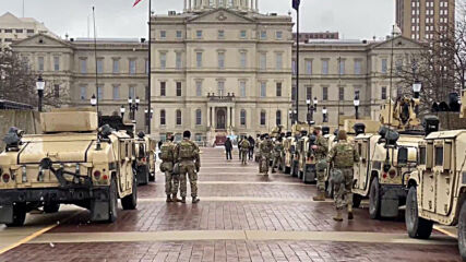 USA: Law enforcement and National Guard step up security in Lansing ahead of protests