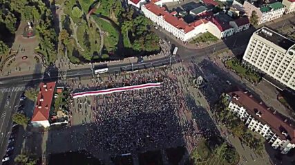 Belarus: Thousands takes to streets of Grodno in unsanctioned rally to protest election results