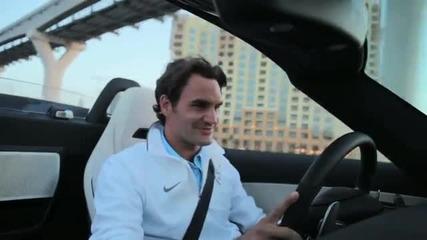 Роджър Федерер тества Sls Roadster