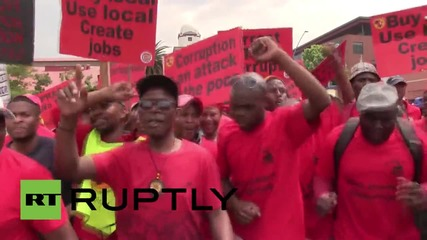 South Africa: Thousands of protesting trade unionists decry corruption in Johannesburg