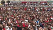 Portugal: Massed fans watch Portugal win at Lisbon public viewing zone