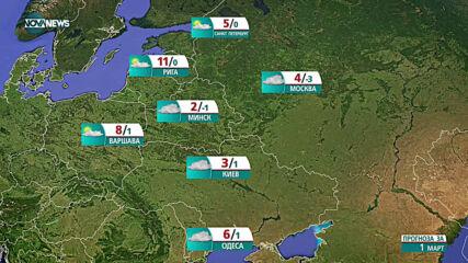 Прогноза за времето на NOVA NЕWS (01.03.2021 - 15:00)