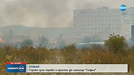 Голям пожар гори до летище София