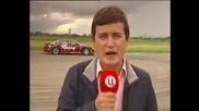 Дрифт кола блъска руски репортер в ефир