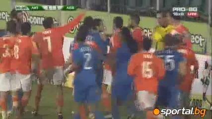 Бой между играчите на Левски и Литекс 25.10.2010