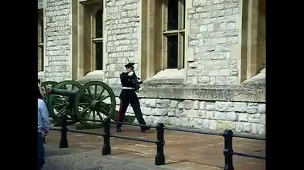 Войник Се Пребива Докато Марширува Преди Да Застъпи На Поста Си