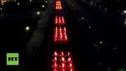 Дрон показва светлинното шоу на фонтаните в централната част на Москва