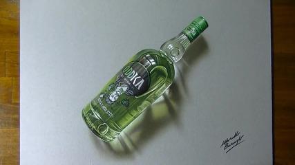 Реалистично рисуване на бутилка водка