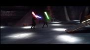 Анакин Скайуокър и Оби-уан Кеноби и Йода vs. граф Дуку