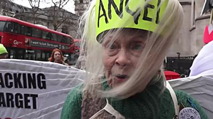 UK: 'Wing-ridden' Vivienne Westwood protests fracking in London