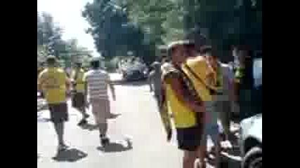 Агитката на Миньор преди мача Срещу Локо София