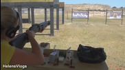 Girl Shooting First time Remington Shotgun. 12 Ga. model 887