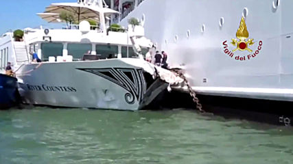 Italy: At least 5 injured as cruise ship collides with tourist boat in Venice