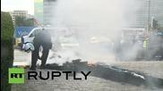Белгия: Бесни таксиджии се боря с пожари пред Европейската комисия