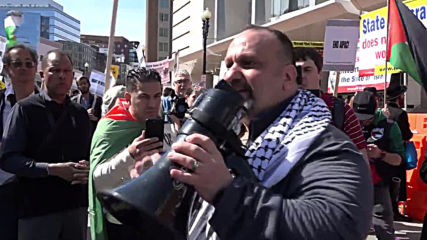 USA: Pro-Palestinian groups protest outside AIPAC Conference