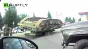 Only in Russia - Upside-Down Tank Found in Middle of the Road