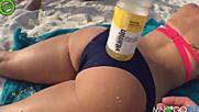 Трика с бутилката на плажа