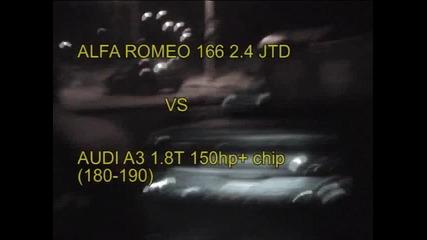 Alfa Romeo 166 2.4 Jtd vs Audi A3 1.8t chip