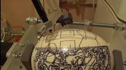 Рисуване на щраусово яйце с Eggbot - Шраус Eggbot