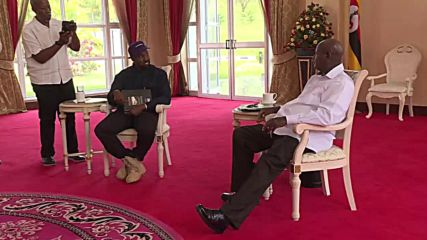 Kim and Kanye drop in on Ugandan President Museveni during Africa trip