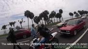 Жена вади пистолет за да защити мъжа си от мотористи хулигани!