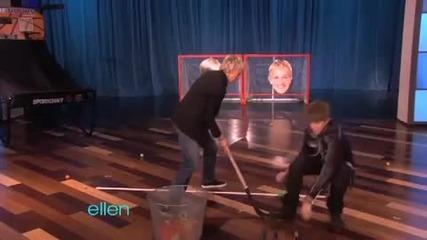 Justin Bieber играе игри с Елън 08.02.2011
