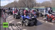 Russia: Night Wolves bikers depart Moscow for Berlin Victory ride