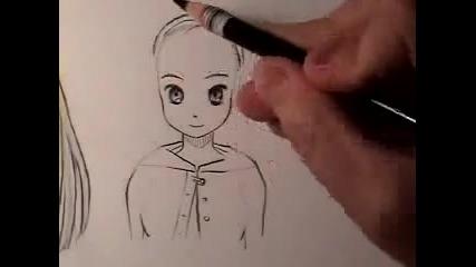 Как да нарисуваме:манга прическа
